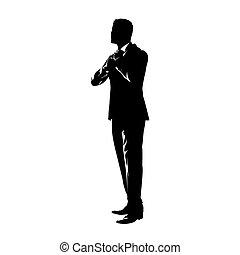 hombre de negocios, dibujo, sí mismo, novio, tinta, componer, atar, aislado, tie., silhouette., vector