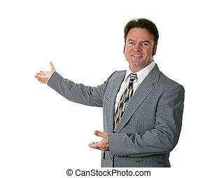 hombre de negocios, dictar una conferencia