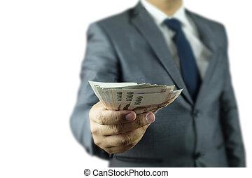 hombre de negocios, dinero, mano
