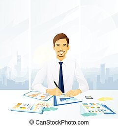 hombre de negocios, documentos, oficina de trabajo, sentado