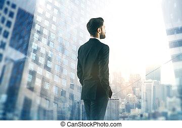 hombre de negocios, el mirar, ciudad