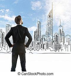 hombre de negocios, el mirar, dibujado, ciudad
