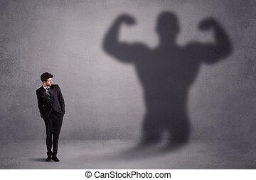 hombre de negocios, el mirar, el suyo, poseer, fuerte, ataque, sombra, concepto