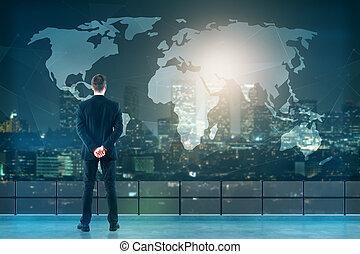 hombre de negocios, el mirar, mapa