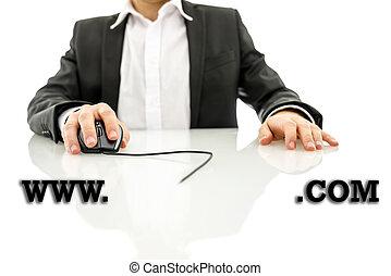 hombre de negocios, el tener acceso, dirección de web