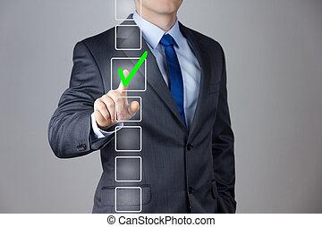hombre de negocios, elaboración, derecho, decisión