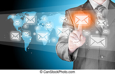 hombre de negocios, email, concepto