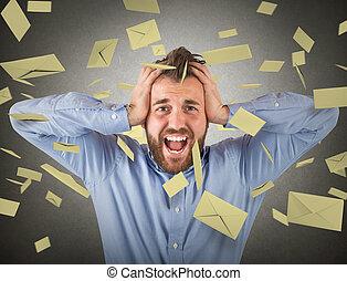 hombre de negocios, email, spam