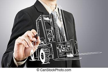 hombre de negocios, empate, carretilla elevadora, transporte