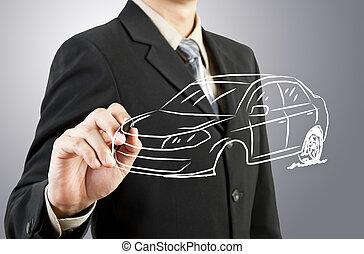 hombre de negocios, empate, coche, transporte