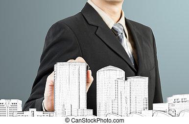 hombre de negocios, empate, edificio, y, cityscape