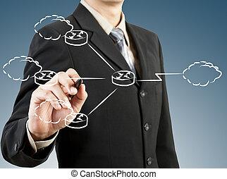hombre de negocios, empate, red, diagrama