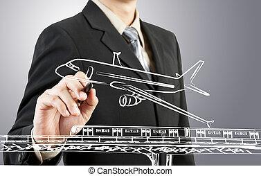 hombre de negocios, empate, tren, avión, transporte, y, cityscape