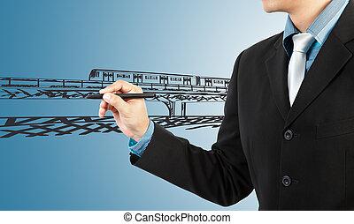 hombre de negocios, empate, tren, transporte, y, cityscape