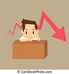 hombre de negocios, empresa / negocio, failure., preocupado, pensamiento, sobre, gráfico, negativo, tendencia, joven