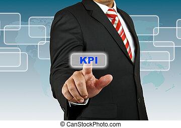 hombre de negocios, empujón, kpi, botón