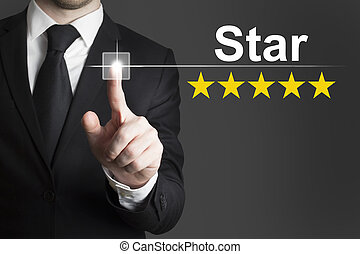 hombre de negocios, empujar, botón, estrella