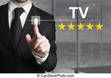 hombre de negocios, empujar, botón, televisión, estrella, clasificación