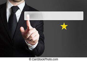 hombre de negocios, empujar, botón, uno, clasificación, estrella