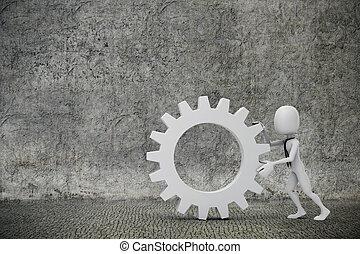 hombre de negocios, empujar, man-, ruedas de marcha, 3d