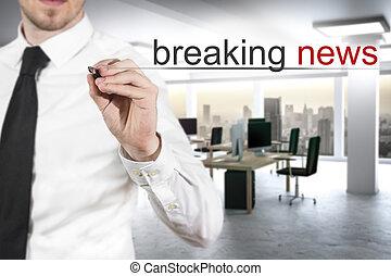 hombre de negocios, empujar, plano, touchscreen, botón, romper noticias