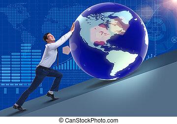 hombre de negocios, empujar, tierra, en, concepto de la corporación mercantil