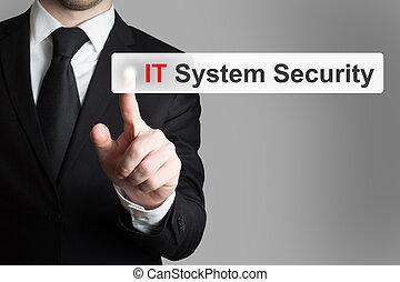 hombre de negocios, empujar, touchscreen, botón, él, sistema, seguridad