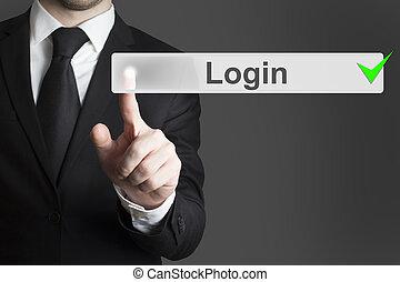 hombre de negocios, empujar, touchscreen, botón, entrada