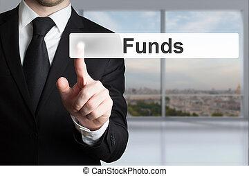 hombre de negocios, empujar, touchscreen, botón, fondos