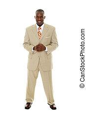 hombre de negocios, en, bronceado, traje