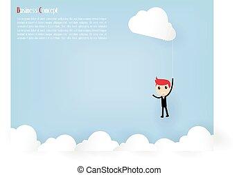 hombre de negocios, en, cielo, con, nube, vector, ilustración