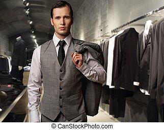 hombre de negocios, en, clásico, chaleco, contra, fila, de,...