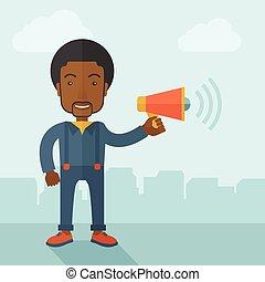 hombre de negocios, en, el, campo, tenencia, un, megaphone.