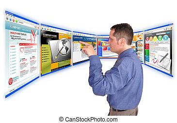 hombre de negocios, en, internet, sitio web
