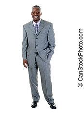 hombre de negocios, en, juicio gris, 1