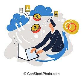 hombre de negocios, en línea, trabajador, trabajando, ...