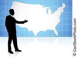 hombre de negocios, en, nosotros la topografía, plano de fondo