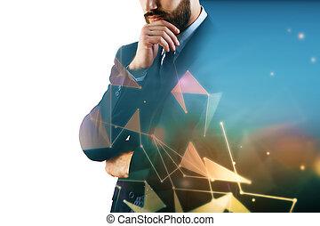 hombre de negocios, en, polygonal, plano de fondo, con,...