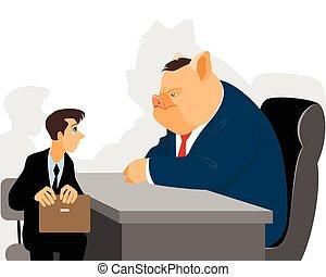 hombre de negocios, en, recepción, funcionario