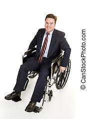 hombre de negocios, en, sílla de ruedas