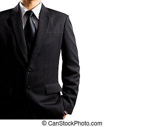 hombre de negocios, en, traje