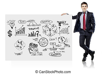 hombre de negocios, en, traje, y, plan trabajo empresa,...