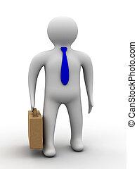 hombre de negocios, en, un, blanco, fondo., aislado, 3d, image.
