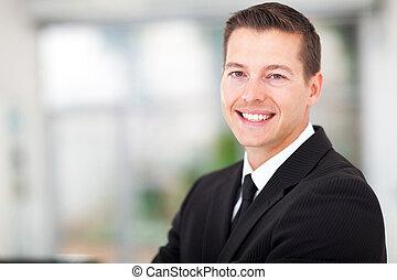 hombre de negocios, en, un, juego negro
