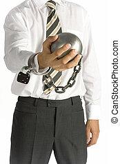 hombre de negocios, encadenado