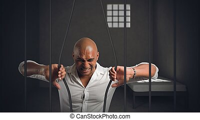hombre de negocios, encarcelado