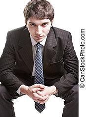hombre de negocios, encima, determinado, joven, blanco