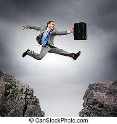 hombre de negocios, encima, saltar, boquete
