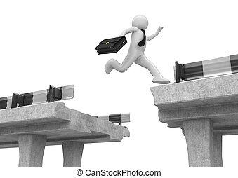 hombre de negocios, encima, saltar, brecha de camino