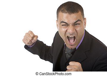 hombre de negocios, enojado, enfatizado